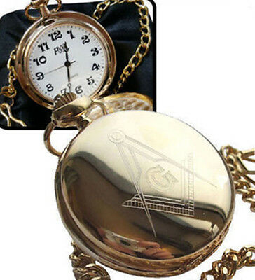 Personalised Gold Plated Masonic G Pocket Watch, Engraved And Gift Boxed