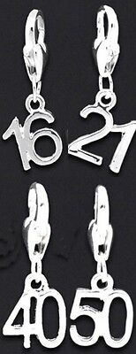 Birthday Age Silver Plated Clip On Charm Charms 16th 18th 21st 30th 40th or 50th