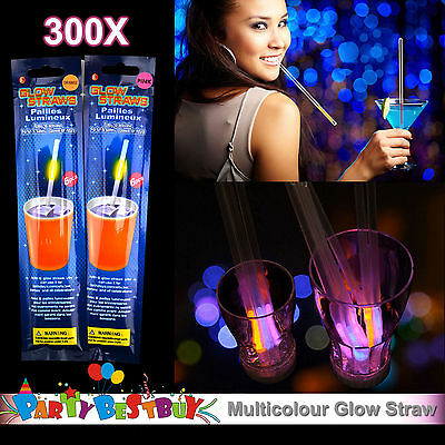 300X Multi Color Glow Straws Light Shining Party Glow in the Dark Fun Toy bulk