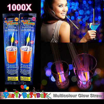 1000X Multi Color Glow Straw Straws Light Up Party Glow in the Dark Wedding bulk