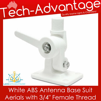 "White Abs Quick Release Standard Antenna Base 3/4"" Female Thread - Boat/caravan"