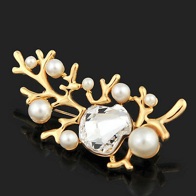 Coral Branch Brooch bridal Wedding use Genuine Swarovski Crystals and Pearls