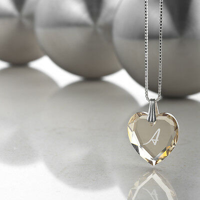 Necklace 925 Silver with SWAROVSKI ELEMENTS Heart and free letters selection