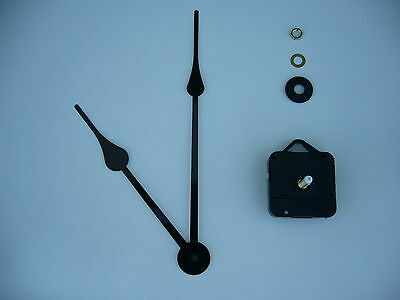 HIGH TORQUE CLOCK MOVEMENT LONG SPINDLE 230MM BLACK FRENCH SPADE metal hands
