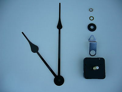 High Torque Clock Movement Extra Long Spindle Black 230Mm  French Spade Hands