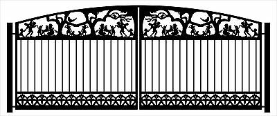 DRIVEWAY GATE STEEL PICKETS AND METAL ART DESIGNER GARDEN WROUGHT IRON 12 FT