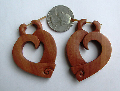Pair Bali Organic Hand Carved Sawo Wood Heart Spiral Stirrup Hanger Hook Earring