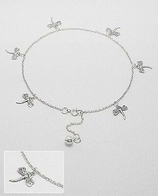 925 Sterling Silver 6 Six dragonflies with ball extension ball chain Anklet
