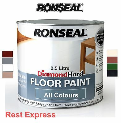 Ronseal Diamond Hard Floor Paint 2.5L / 2.5 litre Use on wood, concrete & stone