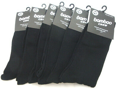 6 Pairs Mens Bamboo Business Crew Socks size 6-11 Black