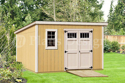 Modern Roof Style, 8' x 12' Deluxe Shed Plans, #D0812M, Material List Included