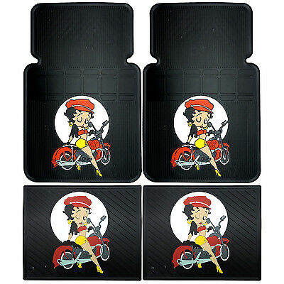 4PC Betty Boop Motorcycle Front & rear Car Rubber Floor Mats