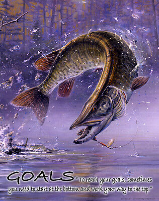 Muskie Fishing Motivational Poster Print Musky Fishing Lures Cabin Wall Artwork