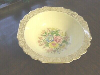 WS GEORGE LIDO CANARYTONE GOLD FILIGREE FLORAL ROUND VEGETABLE SERVING BOWL EUC