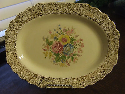 WS GEORGE LIDO CANARYTONE GOLD FILIGREE FLORAL SMALL SERVING PLATTER EUC