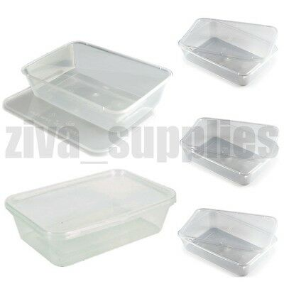 FOOD CONTAINERS & LIDS(650ml) Microwave/Freezer Safe/Clear Plastic/Takeaway Box