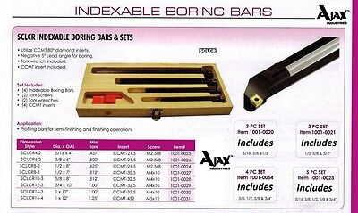 """S-SCLCR8-3,1//2/""""x7/"""" OAL w.CCMT Inserts,1004-IDX12-New 1//2/"""" Indexable Boring Bar"""