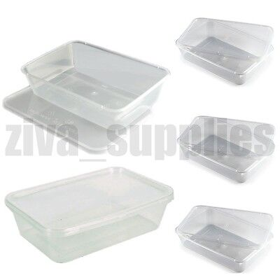 FOOD CONTAINERS & LIDS(1000ml) Microwave/Freezer Safe/Clear Plastic/Takeaway Box