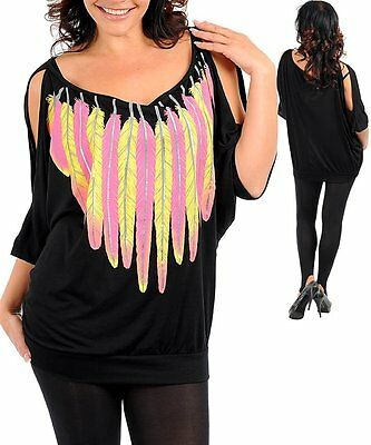 1X,2X,3X Black Feather Print,Open Shoulder Stretchy Blouse,Top