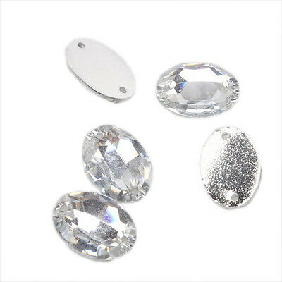 100pcs  24027 Clear Crystal Sew-on Resin Rhinestone Flatback Buttons 11x16mm
