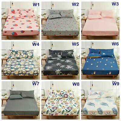 100%Cotton Floral Fitted Sheet King Queen Size Bed Linen or 2 x Pillowcases New