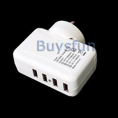 2A 4-Port USB AU Plug AC Wall Charger Adapter For Apple iPod Touch 4 4G 4TH