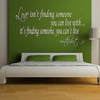 Wall Quote Sticker Love isnt finding someone you can live with Art Decor Decal