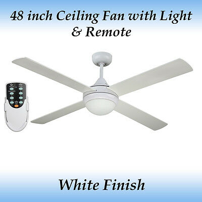 Fias Revolve 48 inch Ceiling Fan White with Light and Remote