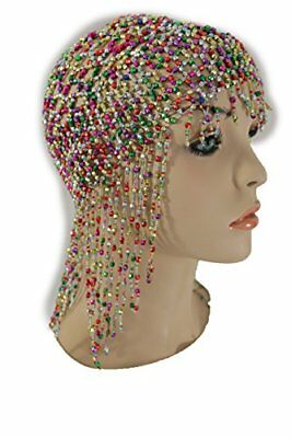 Women Long Silver Full Head Net Hat Cover Jewelry Bead Hair Accessories One Size