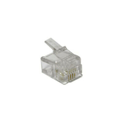 10x 6P4C 4 Contact RJ11 Connector Modular Plug Clear