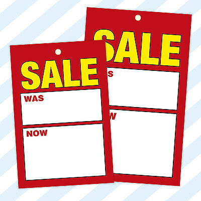 Sale / Swing Tickets Tags Cards Hanger Labels Was/Now Tagging Pricing Gun
