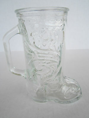 VTG Clear Glass Cowboy Boot Mug Beer Stein Crystal Barware Mancave Pub Tavern