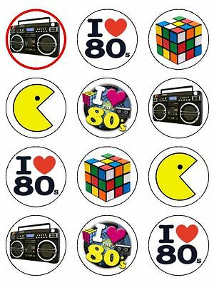 """12 x 2"""" I Love The 80's Party Mix Edible PRE-CUT Rice Paper Cup Cake Toppers"""