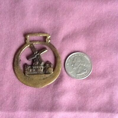 Antique Vintage Brass Horse Medallion With Windmill. England