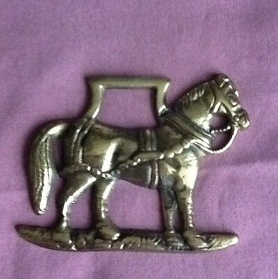 Vintage Horse Shaped Brass Horse Medallion. England.