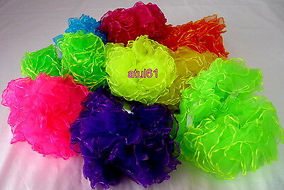 COLOURS FANCY FRILLY HAIR SCRUNCHIE BAND BOBBLE FANCY DRESS/HEN PARTY 2 x NEW