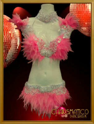 Pink Showgirl Feather Bra and Belt Set with Iridescent White Lace