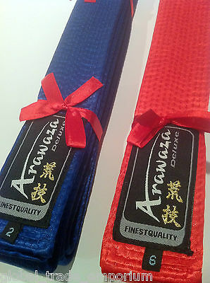 Brand New ARAWAZA Finest SILK DELUXE COMPETITION KARATE JUDO BELT Blue or Red