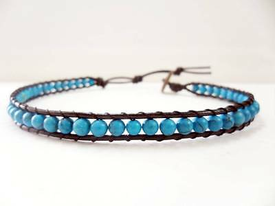 Blue Stone  Bean Brown  Leather Anklet