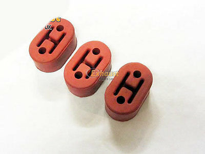 3 x Heavy Duty upgraded Exhaust Hanger support Bracket Rubber Mount Red