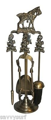 Horse Brass Fireplace Companion Set Chiminea Accessories Fire Side Tools Poker