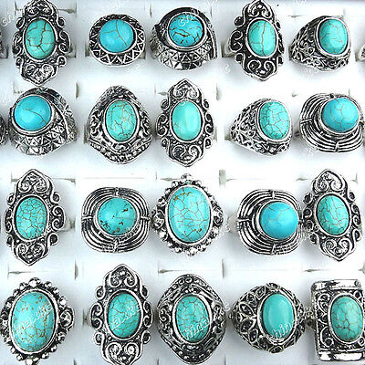 10PCS Mixed Turquoise Vintage Tibet Silver Fashion Rings Wholesale Jewerly Lots