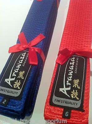 Brand New ARAWAZA Finest COTTON DELUXE COMPETITION KARATE JUDO BELT Blue or Red