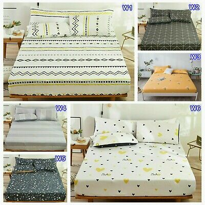 100%Cotton Floral Queen King Size Fitted Sheets Set Or 2 Bed Pillowcases Linen