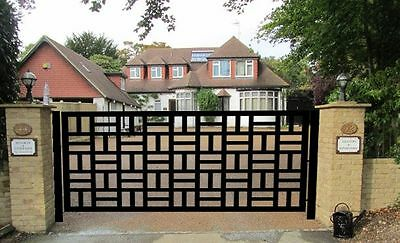 CONTEMPORARY DRIVEWAY GATE ON SALE METAL ART GARDEN WROUGHT IRON DESIGNER 10 FT