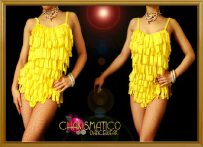 3e04e4f1a5ba Charismatico Yellow Sequin Accent Ribbon Fringe Leotard style Samba Dance  Dress