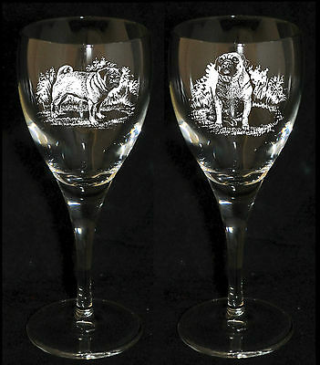 PUG DOG GIFT - Boxed  PAIR WINE GLASS *DOG GIFT*