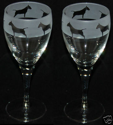 BULL TERRIER FRIEZE - Boxed & Engraved PAIR WINE GLASS *DOG GIFT*