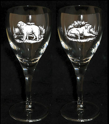 PYRENEAN MOUNTAIN DOG GIFT - Boxed & Engraved PAIR WINE GLASS *DOG GIFT*