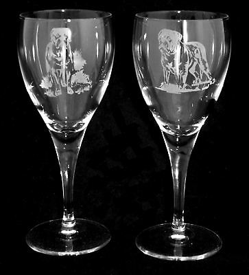 DOGUE DE BORDEAUX GIFT - Boxed  PAIR WINE GLASS *DOG GIFT*